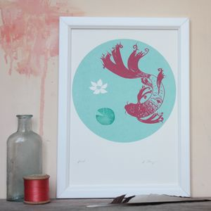 Koi Fishpond Original Screenprint - screen prints