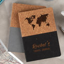 Personalised Vegan Cork Travel Journal Notebook