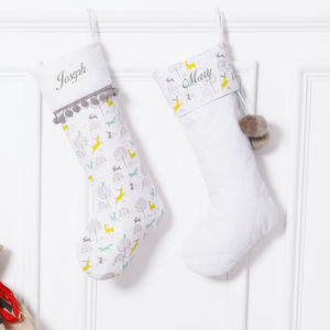 Personalised Set Of Two Deer Pom Pom Ochre Stockings - stockings & sacks