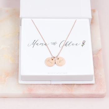 Personalised Mum And Me Double Disc Necklace