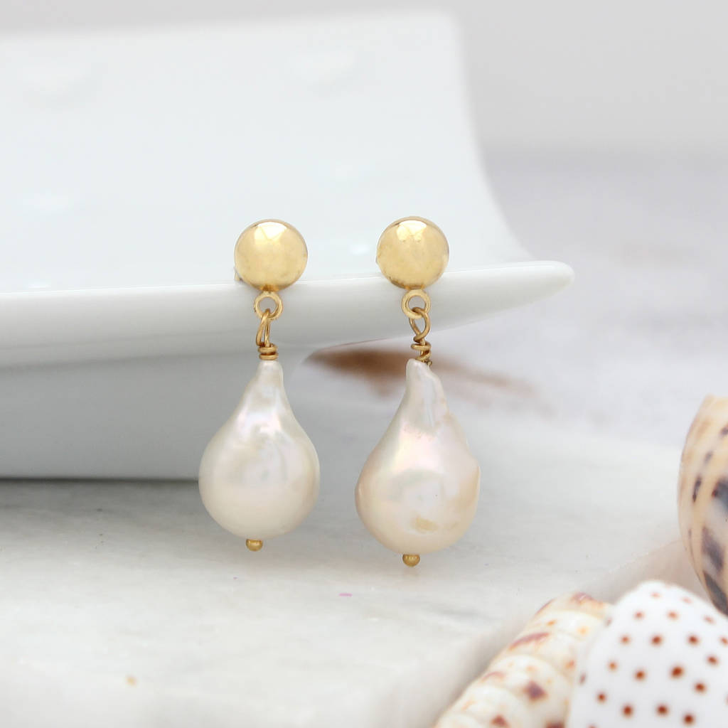 Modern White Pearl Drop Earrings On 6mm Gold Studs