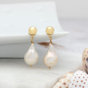 Modern Pearl Drop Earrings On Silver Or Gold Stud