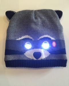 Bright Eyes Animal Hats, With LED Lights. Rusty Raccoon