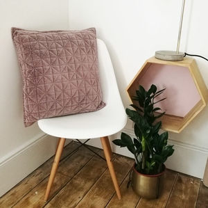 Pink Velvet Diamond Pattern Cushion