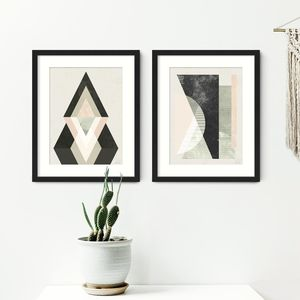 Geometric Abstract Prints Set Of Two