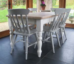 Chilmark Table With Cottage Chairs Hand Painted - dining room