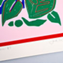 Blue Red Botanic Screen Print