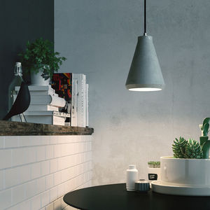 Concrete Funnel Light - bedroom