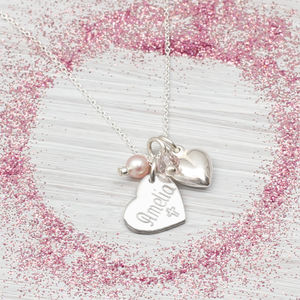 Sterling Silver Personalised Pearl Heart Necklace