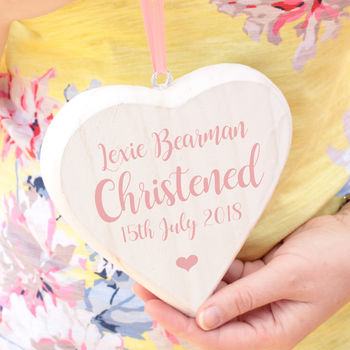 Personalised White Wooden Christening Hanging Heart
