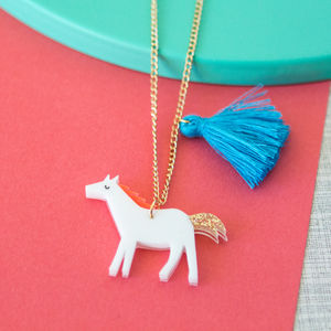 Acrylic Horse Sweet Thing Necklace - necklaces & pendants