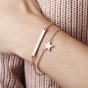 Personalised Skinny Star And Bar Bracelet Set - gifts for her