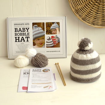 Baby Bobble Hat Beginner Knitting Kit