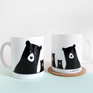 Bear Family Selfie, Personalised Mug - mugs