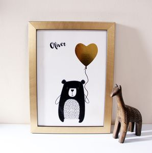 Bear And Balloon Gold Foil Children's Art Print - shop by price