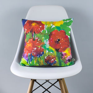 Bright Garden Watercolour Cushion