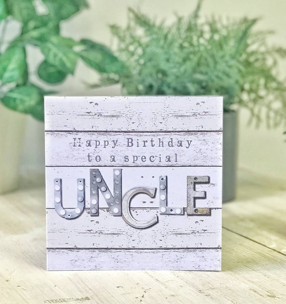 Happy birthday uncle vintage letters male greeting card by lucy happy birthday uncle vintage letters male greeting card m4hsunfo