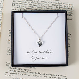 Personalised Teacher Silver Heart Necklace - personalised