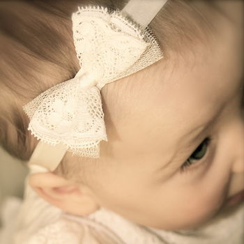 Amber Silk Lace Bow Flower Girl, Christening Headband