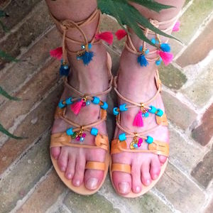 Ibiza Tassel Handmade Leather Sandals - shoes