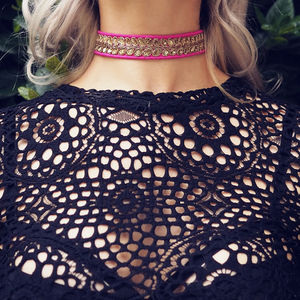 Isla Vintage Fuchsia Embroidered Sequin Choker - black friday sale