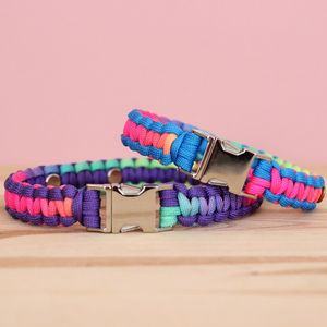 Personalised Rainbow Tie Dye Paracord Dog Collar - dogs