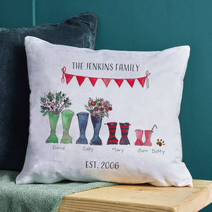 Christmas Welly Boot Personalised Cushion Cover - cushions