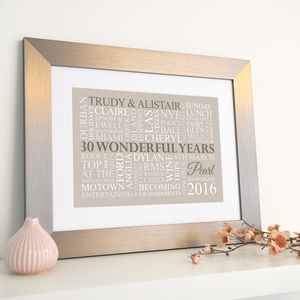 Personalised Pearl Anniversary Word Art - 30th anniversary: pearl