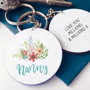 Personalised Floral Nanny's Keyring