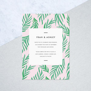 Hand Painted Palm Wedding Invites - invitations