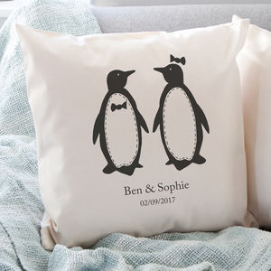 Personalised Penguin Pairs Cushion - bedroom