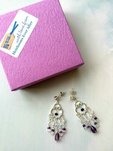 Solid Sterling Silver Amethyst And Swarovski Earrings
