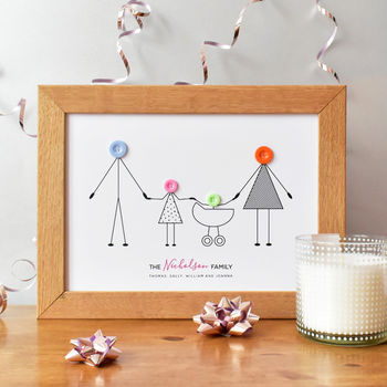 personalised button family print christmas gift for families