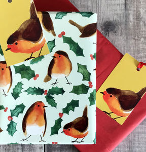 Robin Christmas Wrapping Paper - christmas wrapping paper