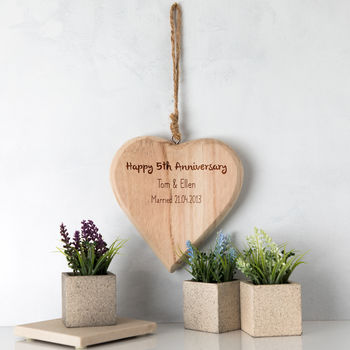 Personalised 5th Anniversary Wood Heart Sign Gift