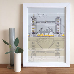 Tower Bridge Architectural Illustration Print - architecture & buildings