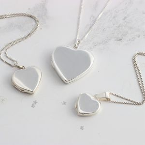 Silver Heart Locket Necklaces In Three Sizes
