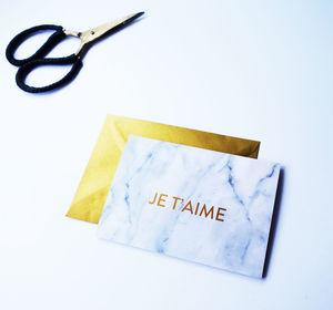 Luxury Gold Foil White Marble Valentine's Card - cards & wrap