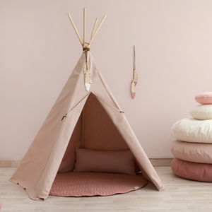 Bloom Pink Teepee With Wooden Feather Trim - tents, dens & teepees