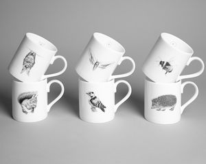 Set Of Six Wildlife Mugs