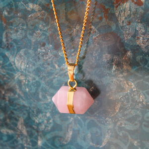 Children's Rose Quartz Nugget Stone Necklace - more