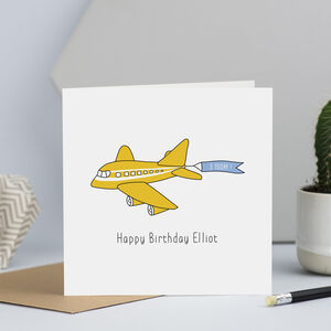 Aeroplane Birthday Card With Name And Age