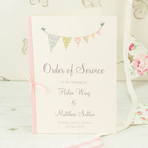 Bunting Wedding Order Of Service A5 Booklet