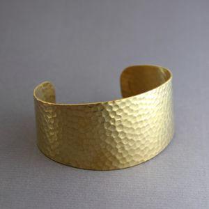 Wide Hammered Gold Cuff Bangle