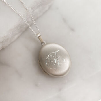 Personalised Brushed Silver Locket With Monogram