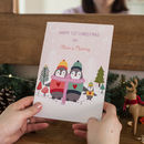 Pink Personalised Baby's First Christmas Penguins Card