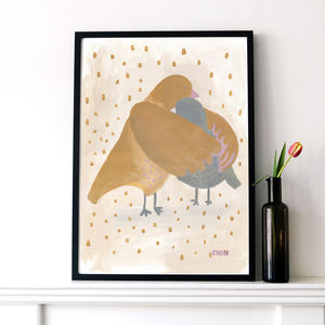 Bird Hug Large Art Print