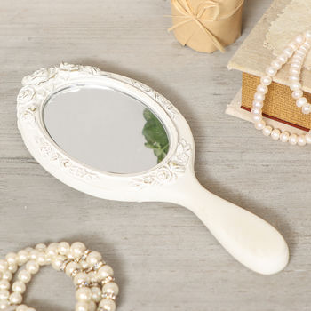 Isabella Distressed Ivory Parisian Hand Mirror
