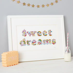 'Sweet Dreams' Rainbow Sticker Kids Typography Artwork - mixed media pictures for children