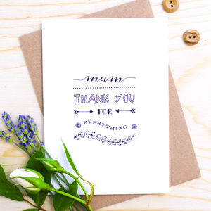 'Mum Thank You For Everything' Card - wedding stationery